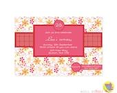 Printable Girl party Invitation / Birthday Invitation - Hibiscus
