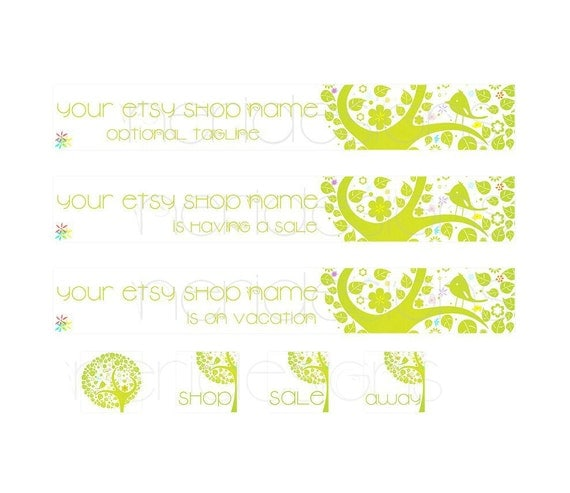 Premade Etsy Shop Set - Big Green Tree