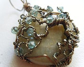 Tree of Life Pendant - Antique Brass with Moss Swarovski Crystals on Aventurine