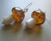 Reserved - Mushroom Earrings - Topaz Glass and Sterling Silver Earwires