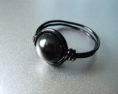 Hematite Ring - Grounding Root Chakra - Black Wire Wrapped Ring - Healing Stone - Made to Order