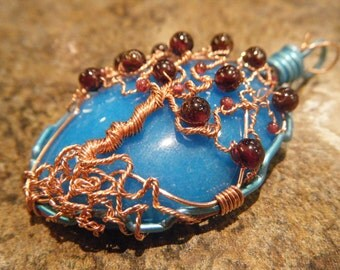 Tree of Life Pendant - Bright Sky Blue Candy Jade - Garnet and Copper