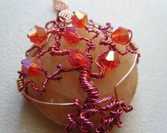 SUPER SALE - Tree of Life Pendant - Hot Pink - Orange Aventurine - Pink Crystals