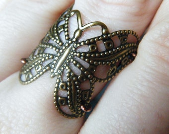 Filigree Butterfly Ring - Antique Brass - Made to Order