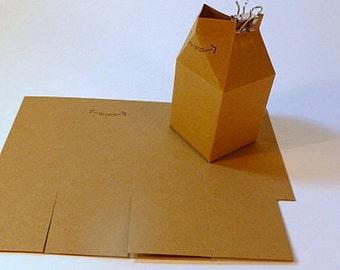 Mini milk cartons, die cuts, DIY, set of 12, paper crafts, Wedding favors, party favors, gift boxes, kraft cardstock