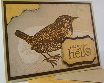 Note Card with handmade patterned envelope, hello, bird, friendship, hand stamped card, yellow, brown, thinking of you, blank inside (C1132)
