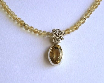 Antique Citrine/silver pendant, on natural citrine and silver necklace FREE SHIPPING to US