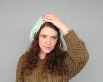 Mint Green Hipster Slouchy Crochet Hat St. Patrick's Day for Women