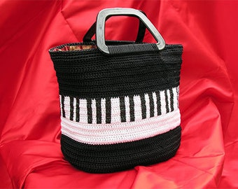 PIANOKEYS CROCHET TOTE Handmade Womans Large Piano Bag Purse With Plastic Handles Ooak