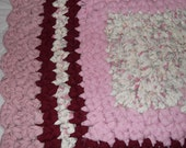 """Reduced Now..VINTAGE RECTANGLE PINKS...  """" Raspberries""""..  35"""" x 26""""  ////   Reduced.. Shipping.///..////"""