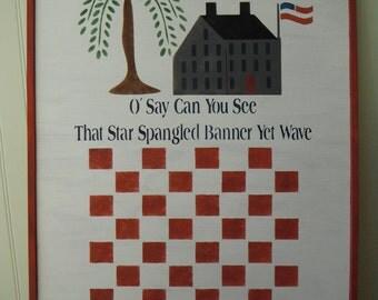 Checkerboard Game Board Handmade Home Decor Folk Art Red White Blue Solid Wood Primitive Decor Country Decor Home Accessories
