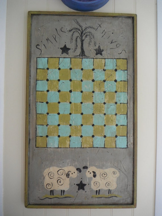 Checker Board Folk Art Home Decor Original Handmade Game Board Grey Green Blue Primitive Country Decor Rustic Solid Wood Wall Art