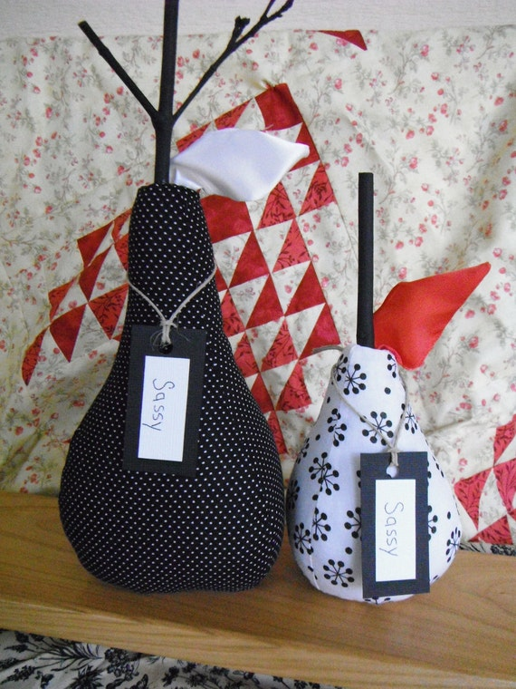 Fabric Pears Home Decor Mantle Accessories Pears Black and White Fabric Pin Dot Country Decor Rustic Primitive French Country