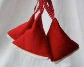 Lavender sachets / bags - red and ivory linen - pack of three