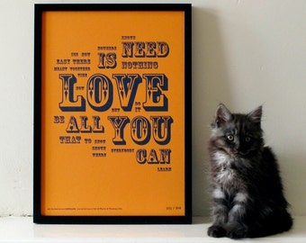 The Beatles - All You Need Is Love Distilled. Limited Edition Letterpress A3 Poster Print.
