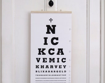The Nick Cave Eye Test Chart. Limited Edition Canvas Print Artwork.