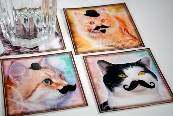 Reserved for Karen - Coasters - Laminated Fabric - Cat with Mustache - Set of 4