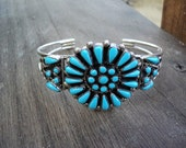 Zuni Pinpoint Turquoise Bracelet Native American Made