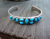Vintage Native American Made Turquoise And Sterling Sliver Cuff Bracelet, Sleeping Beauty Stones