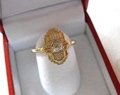 Vintage Art Deco Filigree Ring/14 K Yellow Gold