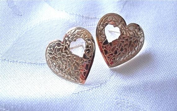 Vintage Heart Shape 10K Yellow Gold Earrings/Pierced