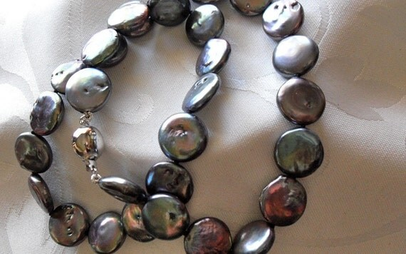 Estate Lustrous Black Cultured Coin Pearl Necklace