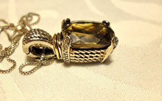 Gemstone Pendant Enhancer Lemon Quartz Diamond Necklace/14k Sterling Silver/Vintage
