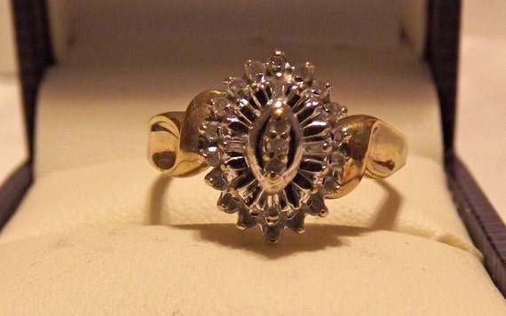 Vintage Marquise Style Diamond Cluster Ring/Bargain Priced