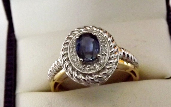 Vintage Blue Sapphire Diamond Ring/Right Hand/Engagement/ 10K 2 Tone Gold