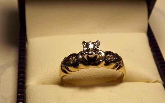 Vintage 14K Diamond Ring. Yellow/ White Gold 1950's.