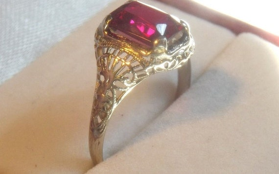 Vintage Emerald Cut Synthetic Ruby Ring 14K White Gold