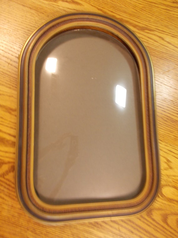 Antique Wood Picture Frame Convex Bubble Glass Cathederal