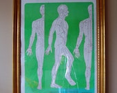 Vintage 1980's French Acupuncture and Shiatsu Atlas Poster Laminated (frame not included)