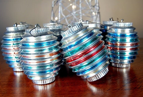 Set of 10 Vintage Christmas Ornaments With Various Colors
