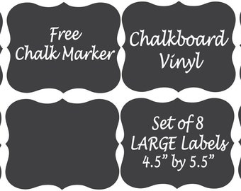 "Large Chalkboard Vinyl Labels 4.5"" by 5.5""  - Pantry, Canisters, Bins, Baskets, Jars, stickers - FREE CHALK MARKER"