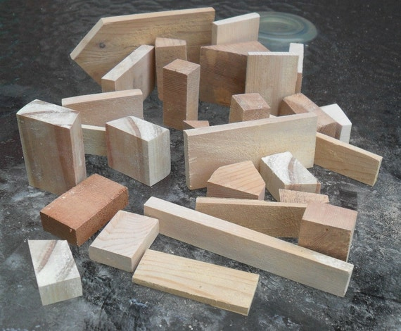28 small wood block assortment art and craft supply for Wooden blocks craft supplies