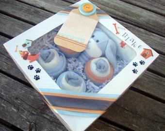 Washcloth/Onesie Cupcake Set - Boy
