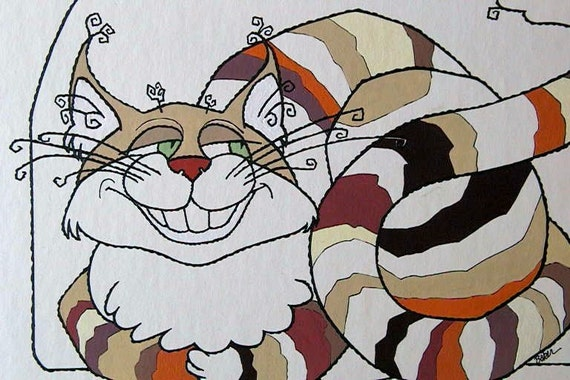 CHESIRE Cat from Alice In Wonderland / Original Art by BAKER / Signed by Artist