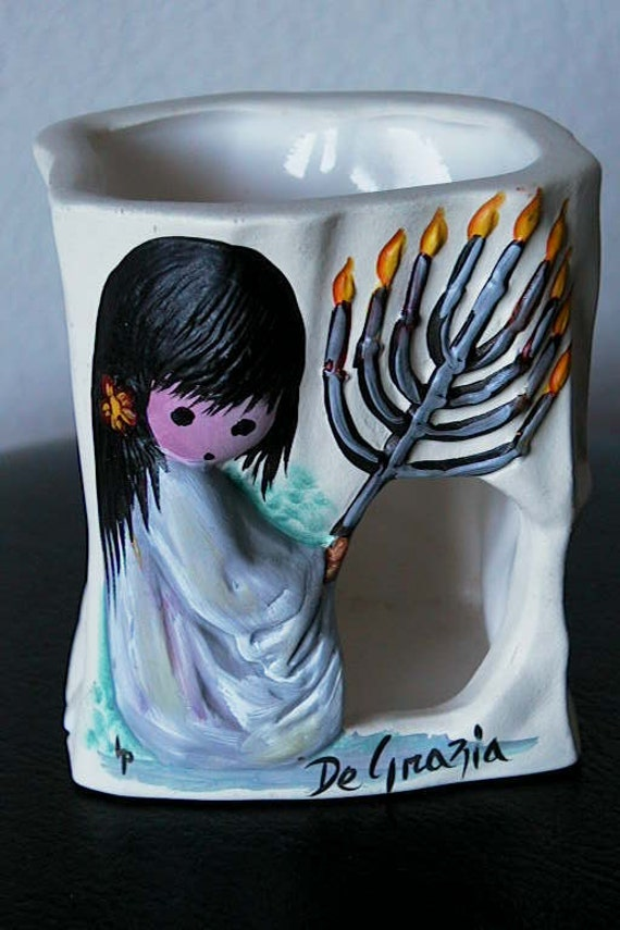 RESERVED for CYNDY DeGrazia Sandstone Creations Luminaria with Image of Festival of Lights / Menorah from the Hoarder's Shop