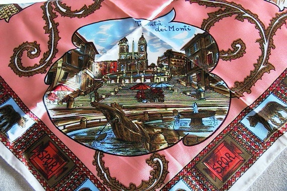 Vintage Scarf w/ Sights of Italy - Rome / Trevi Fountain  - etc.