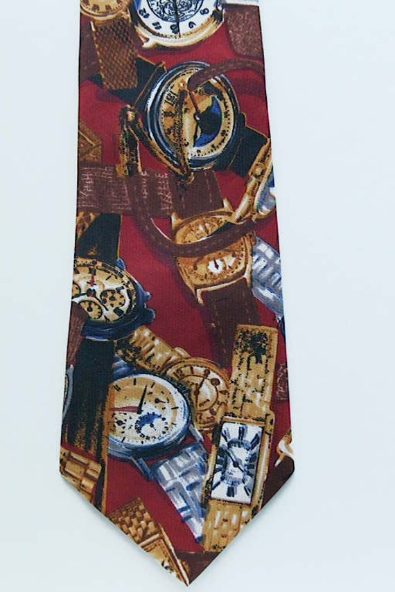 Reserved for Baris 12.10.12  Lorenzo Selini New York - Mens NeckTie w/ Images of Beautiful Watches - Great Colors