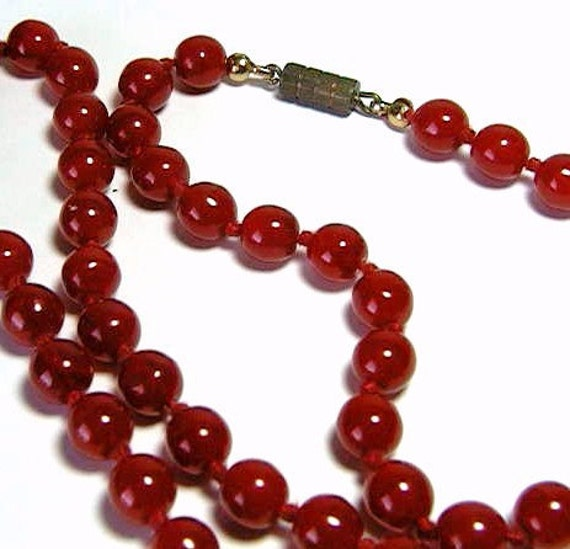 "Bright Red Glass Bead Hand Knotted Necklace from Murano - 28"" Long"