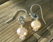 Peach Pearl and Sterling Silver Hoops on French Hooks