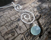 Hand Forged Silver Swirl Charm Necklace with Blue Chalcedony Briolette Pendant - Organic Swirl Unique Handformed Jewelry from Lizard Crumbs