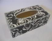 Black and White Swirl Decoupage Tissue Case - Kleenex Holder - Unique Decoupage Box by Lizard Crumbs