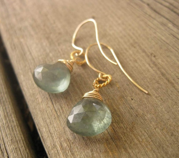 Moss Aquamarine Gold Filled Wire Wrapped Earrings