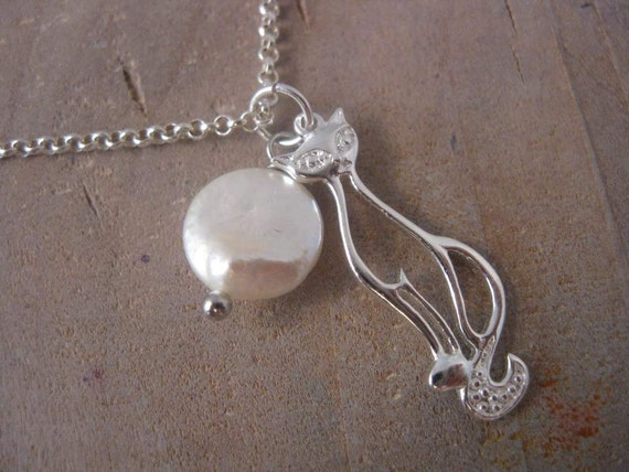 Sterling Silver Cat Pendant Charm Necklace with White Coin Pearl Accent - Unique Handmade Jewelry by Lizard Crumbs