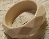 Vintage Cream Lucite Faceted Bangle