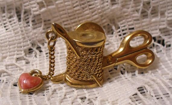 Vintage Gold Tone Spool of Thread Pin