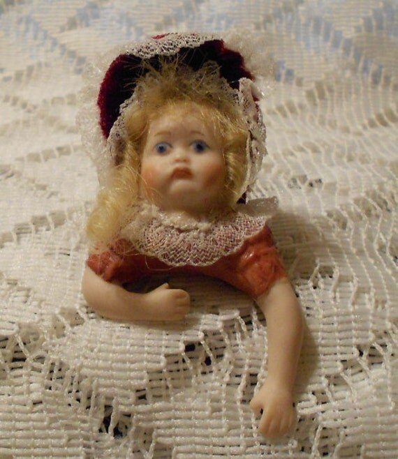 Vintage Handmade Porcelain Bisque Little Girl Brooch